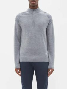 Burberry - Logo Embroidered Cashmere Sweater - Mens - Blue