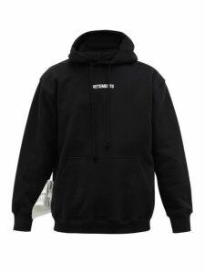Vetements - Logo Printed Jersey Hooded Sweatshirt - Mens - Black