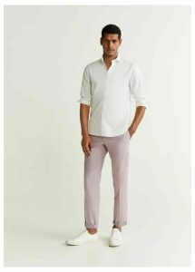 Tapered fit pleated trousers