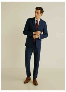 Regular fit microstructured suit trousers