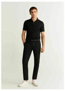 Slim fit cropped elastic waist trousers