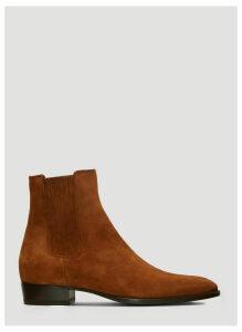 Saint Laurent Wyatt Suede Boots in Brown size EU - 40