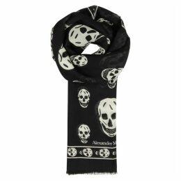 Alexander McQueen Black Skull-print Scarf