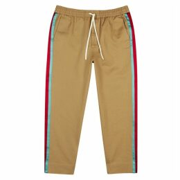Gucci Camel Stripe-panelled Cotton Trousers
