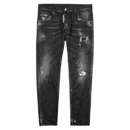 Dsquared2 Dark Grey Distressed Slim-leg Jeans