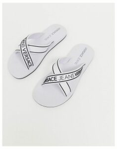 Versace Jeans flip flops with logo in black