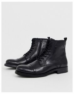 Jack & Jones lace up leather boot in black