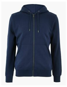 M&S Collection Cotton Zip Through Hoodie