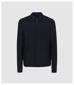 Reiss Edward - Lightweight Revere Collar Jacket in Navy, Mens, Size XXL