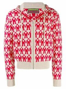 Walter Van Beirendonck Pre-Owned intarsia walter logo hoodie - Red