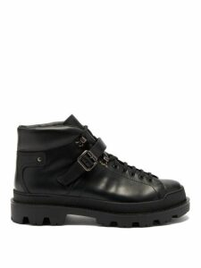 Prada - Lace Up Leather Boots - Mens - Black
