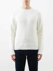 Saint Laurent - Jacquard Wool Blend Sweater - Mens - Black White