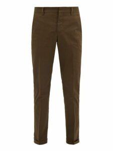 Prada - Slim Leg Cotton Blend Trousers - Mens - Brown