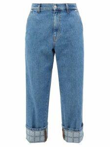 Thom Browne - Striped Straight Leg Cotton Chino Trousers - Mens - Navy