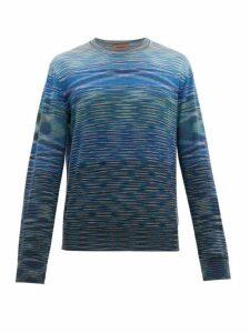 Missoni - Striped Crew Neck Wool Sweater - Mens - Blue Multi