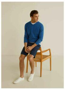 Structure cashmere cotton sweater