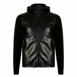 Prada Linea Rossa Knitted Sleeve Leather Jacket