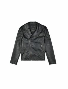 Mens Black Pu Biker Jacket, Black