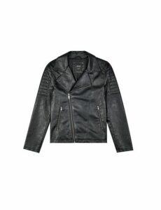 Mens Black Pu Biker Jacket, Black