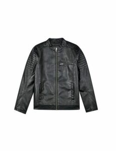 Mens Black Pu Racer Jacket, Black