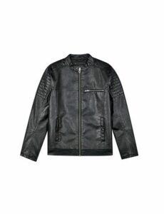 Mens Black Pu Racer Jacket, Black