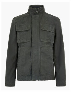 M&S Collection Washed Cotton Funnel Neck Utility Jacket
