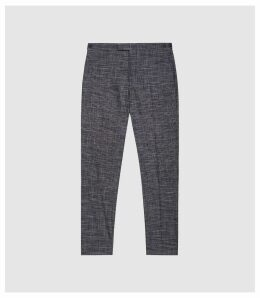 Reiss Cheval - Checked Slim Fit Trousers in Navy, Mens, Size 38