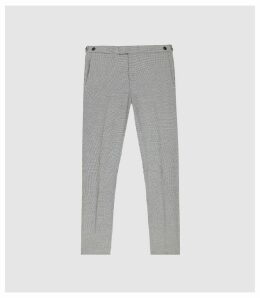 Reiss Napoleon - Dogtooth Modern Fit Trousers in Black/ White, Mens, Size 38