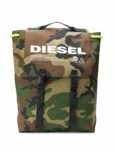 Diesel camouflage-print drawstring backpack - Green