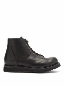 Rick Owens - Monkey Panelled Leather Boots - Mens - Black