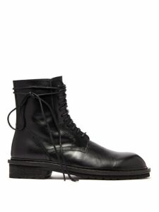Ann Demeulemeester - Lace Up Leather Combat Boots - Mens - Black