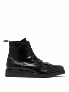 Toga Virilis - Tassel Front Leather Brogue Boots - Mens - Black