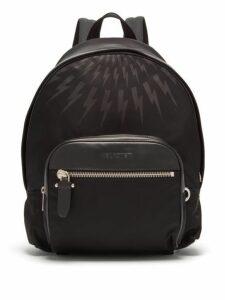 Neil Barrett - Lightning-embossed Leather-trimmed Backpack - Mens - Black Multi