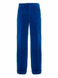 Gucci - Flared Cotton Blend Velvet Trousers - Mens - Blue