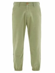 Gucci - Embroidered-lyre Zipped-cuff Cotton-twill Chinos - Mens - Light Green