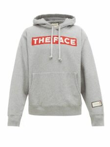 Gucci - The Face Print Cotton Hooded Sweatshirt - Mens - Grey
