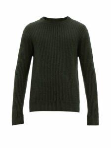 Allude - Ribbed Crew Neck Cashmere Sweater - Mens - Dark Green