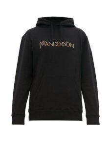 Jw Anderson - Logo Embroidered Cotton Hooded Sweatshirt - Mens - Black Red