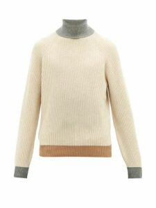 Brunello Cucinelli - Contrast Edge Roll Neck Cashmere Sweater - Mens - Beige