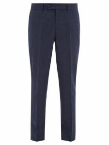 Brunello Cucinelli - Pinpoint Wool Flannel Trousers - Mens - Blue