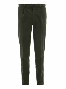 Incotex - Checked Cotton Blend Slim Fit Trousers - Mens - Green