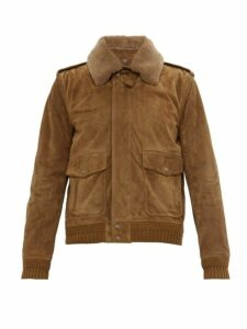 Saint Laurent - Shearling Collar Nubuck Flight Jacket - Mens - Brown