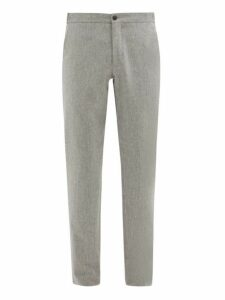 Incotex - Internal Drawstring Wool Slim Leg Trousers - Mens - Light Grey