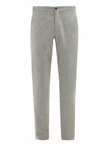 Incotex - Internal Drawstring Wool Slim Leg Trousers - Mens - Light Grey