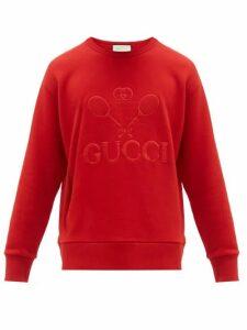 Gucci - Tennis Logo Embroidered Cotton Sweatshirt - Mens - Red