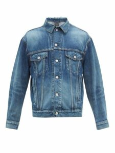 Balenciaga - Logo Print Denim Jacket - Mens - Blue