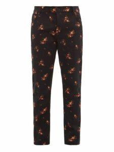 Ann Demeulemeester - Floral Jacquard Cotton Blend Jeans - Mens - Black