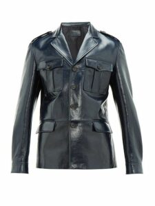 Prada - Patch Pocket Single Breasted Leather Jacket - Mens - Blue
