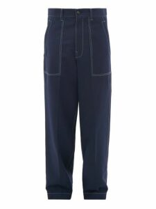 Marni - Relaxed Fit Wool Gabardine Trousers - Mens - Navy