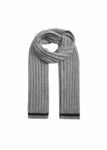 Contrast-edge knit scarf